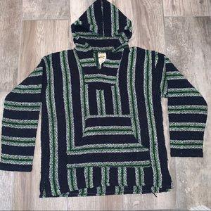 SUNSPECS VTG Mexican Blanket Hoodie Blue Green M